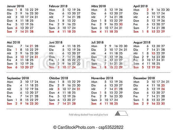 diy fold and glue german calendar of year 2018 with public holidays and bank holidays for germany