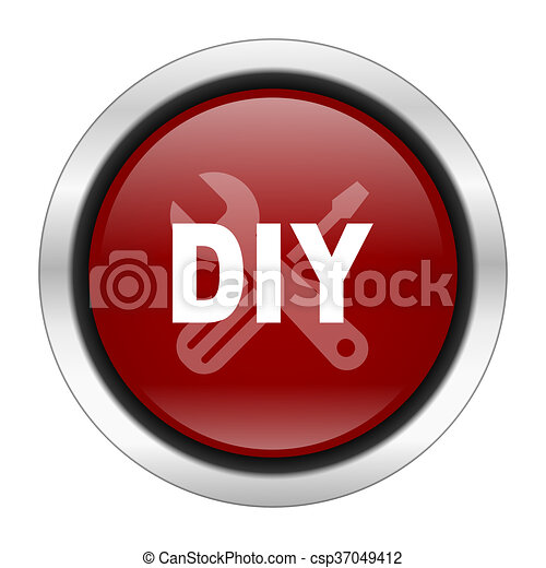 diy icon, red round button isolated on white background, web design illustration - csp37049412