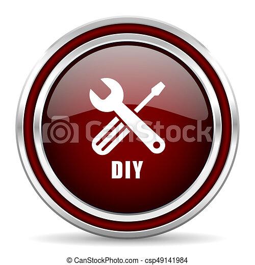 Diy red glossy icon. Chrome border round web button. Silver metallic pushbutton. - csp49141984