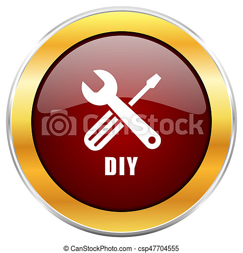 Diy red web icon with golden border isolated on white background. Round glossy button. - csp47704555