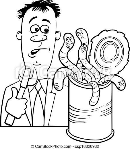 dizendo, caricatura, abertos, vermes, lata - csp18828982