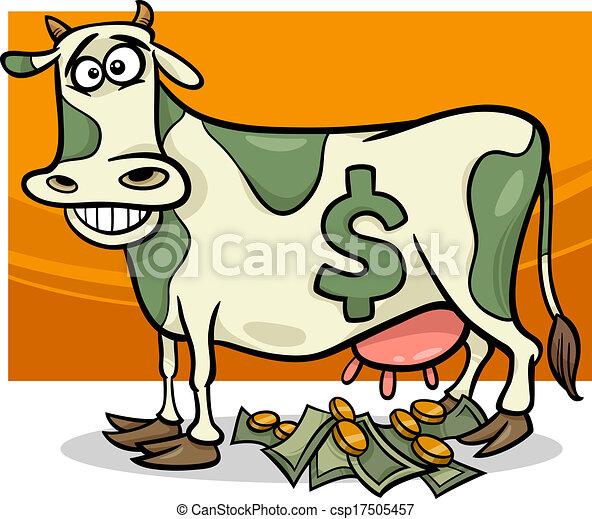 dizendo, caricatura, dinheiro, ilustração, vaca - csp17505457