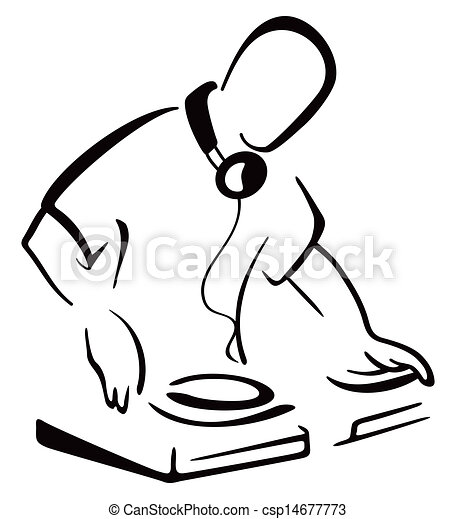 Dj Behind Console Illustration Of Dj Mixing Music Isolated On White