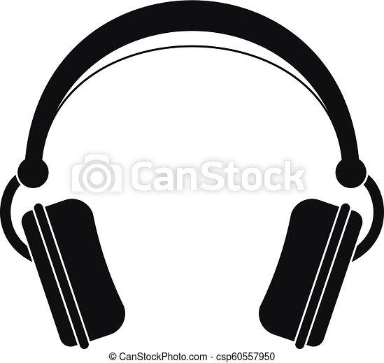 Dj headphones icon, simple style