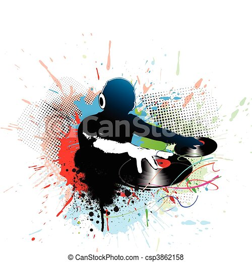 Abstract Vector Illustration Of An Dj Man Playing Tunes