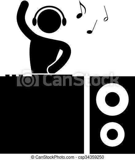 dj musique pictogramme noir blanc ic ne dj f te clipart vectoriel rechercher. Black Bedroom Furniture Sets. Home Design Ideas