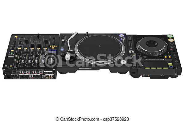 Dj table set mixer audio equipment - csp37528923  sc 1 st  Can Stock Photo & Dj table set mixer audio equipment from vinyl player and mixers. 3d ...