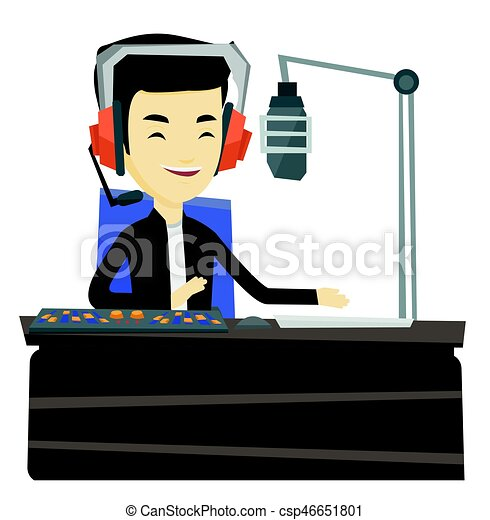 dj working on the radio vector illustration asian radio dj rh canstockphoto com dj victoria dj victor
