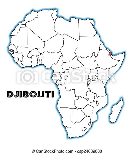 Djibouti outline inset into a map of africa over a white background.