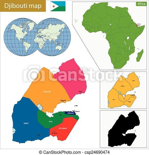 Djibouti map. Administrative division of the republic of djibouti. on