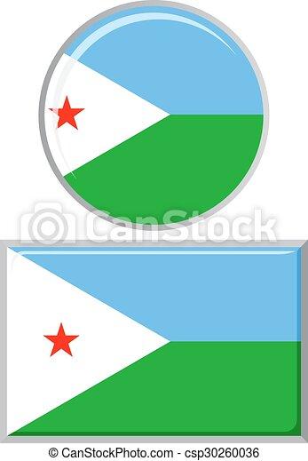 Djibouti round and square icon flag. - csp30260036
