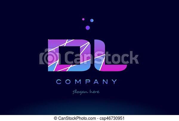 Dl D L Colored Blue Pink Purple Alphabet Letter Logo Icon Vector Dl D L Creative Color Blue Background Pink Purple Magenta