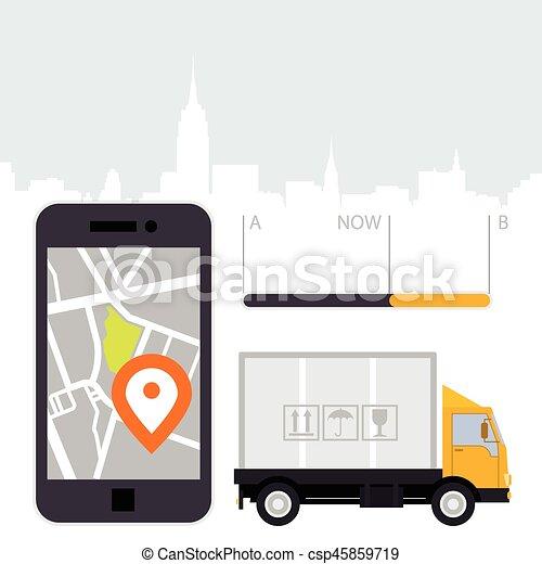 dlivery of cargo location tracker app and mobile gps navigation. Black Bedroom Furniture Sets. Home Design Ideas