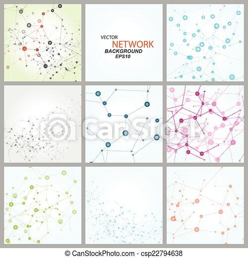 dna., netværk, farve, sammenhænge, vektor, atom - csp22794638