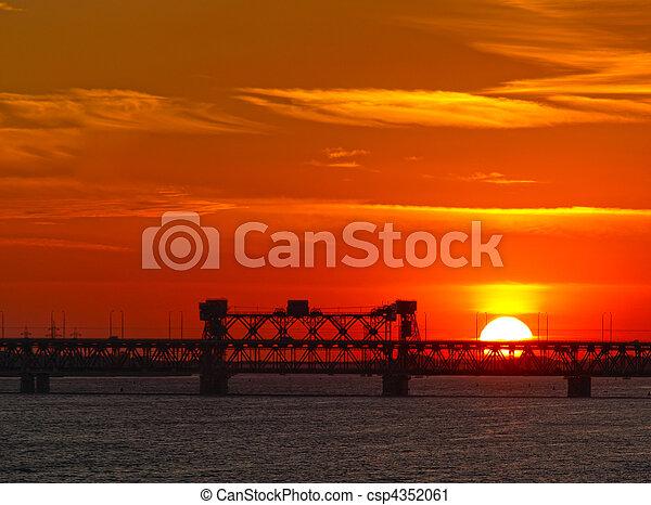 Dnipropetrovsk sunset over bridge - csp4352061
