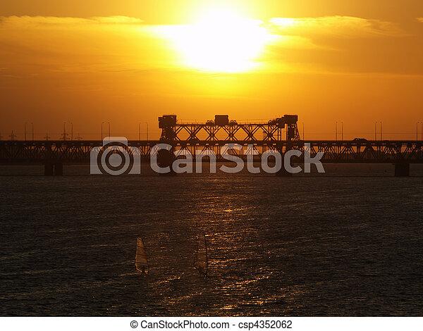 Dnipropetrovsk sunset over bridge - csp4352062
