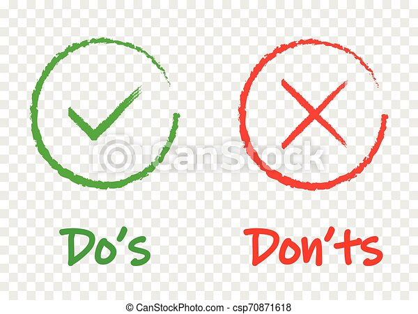 Do and Don t or Good and Bad Icons. Positive and Negative Symbols - csp70871618