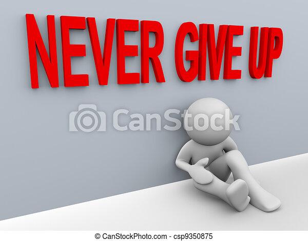 do góry, -, dawać, człowiek, nigdy, 3d - csp9350875