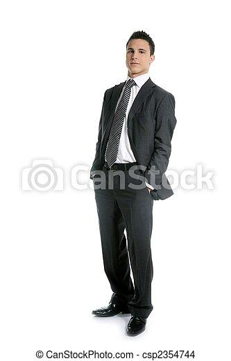 do góry, pełny, młody, długość, stać, biznesmen, biały - csp2354744