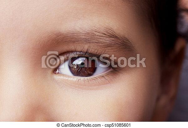 do góry., zamknięcie, wizerunek, oko, dziecko - csp51085601