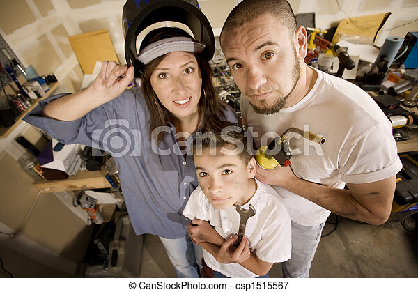 Do it yourself family funny hispanic family in garage with do it yourself family csp1515567 solutioingenieria Gallery