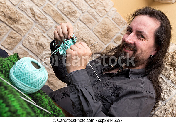 do it yourself man is knitting - csp29145597