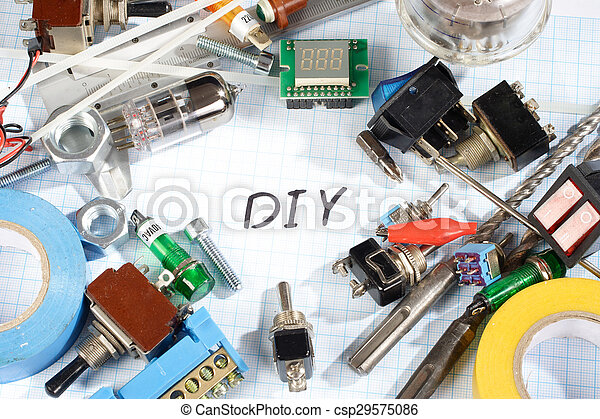 Do it yourself radio electronic parts on graph paper background do it yourself radio electronic parts on graph paper csp29575086 solutioingenieria Images