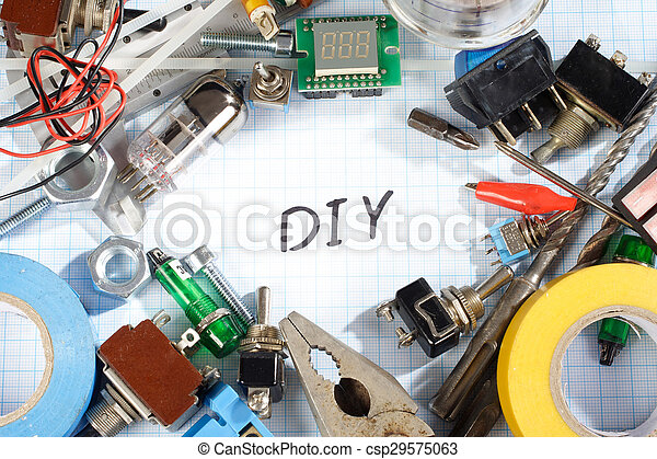 Do it yourself radio electronic parts on graph paper background do it yourself radio electronic parts on graph paper csp29575063 solutioingenieria Images