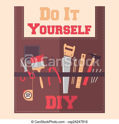 Do it yourself tools on apron diy tools on apron flat vector do it yourself tools on apron csp24247816 solutioingenieria Image collections