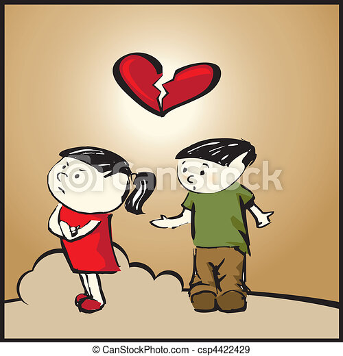 Do Not Break My Heart Vector Illustration Of Girl And Boy With A