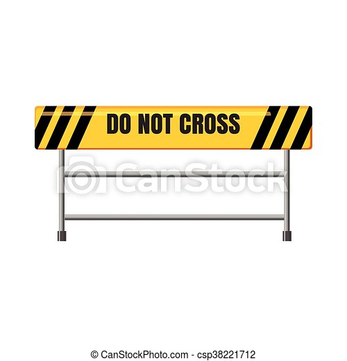 Do not cross traffic barrier icon, cartoon style - csp38221712