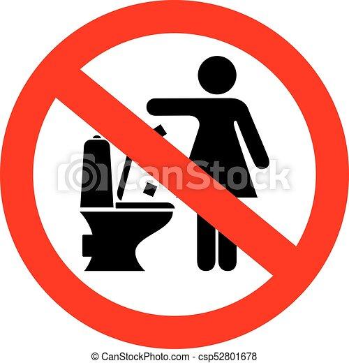 Do not flush feminine products sign - csp52801678