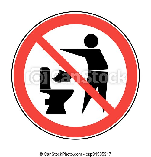 Do not litter in toilet icon 1 - csp34505317