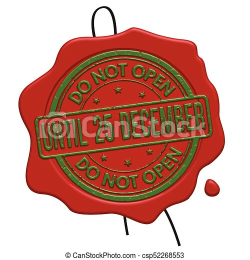 Do not open until 25 december red wax seal - csp52268553
