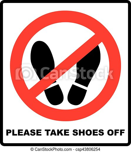 Please Take Shoes Off Do Not Step Here Please Sign Vector