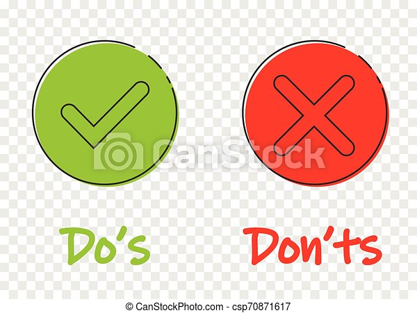Do s and don ts sign icon in flat style. Like, unlike vector illustration on transparent background. Yes, no business concept. - csp70871617