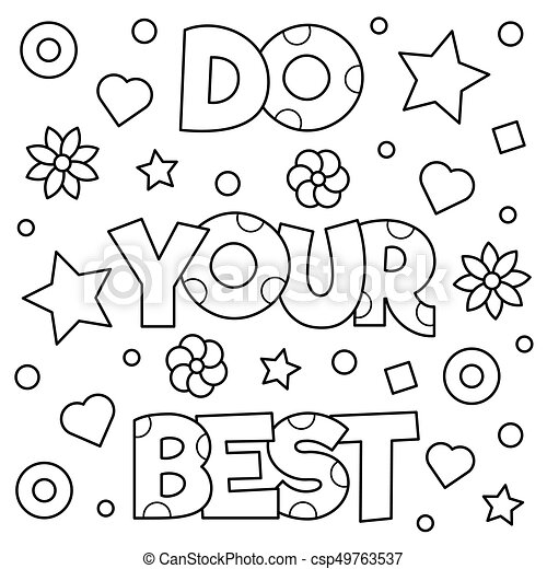 Do Your Best Coloring Page Vector Illustration Do Your