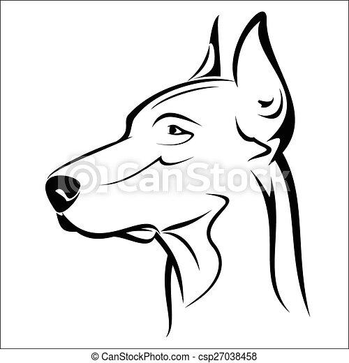 Dog Pinscher Clipart Black And White