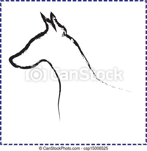 doberman silhouette vector logo
