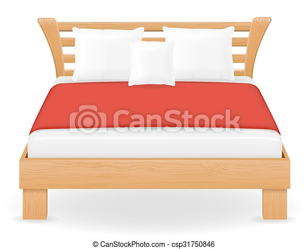 Doble, vector, cama, ilustración, muebles. Doble, aislado, cama ...