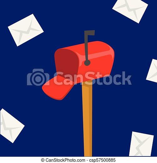 doboz, felad, futár, csomag, szerszám, envelope., kiszolgáltat, hajózás, felszabadítás, vektor, hordozó, profi, állás, postázás, letterbox, foglalkozás - csp57500885