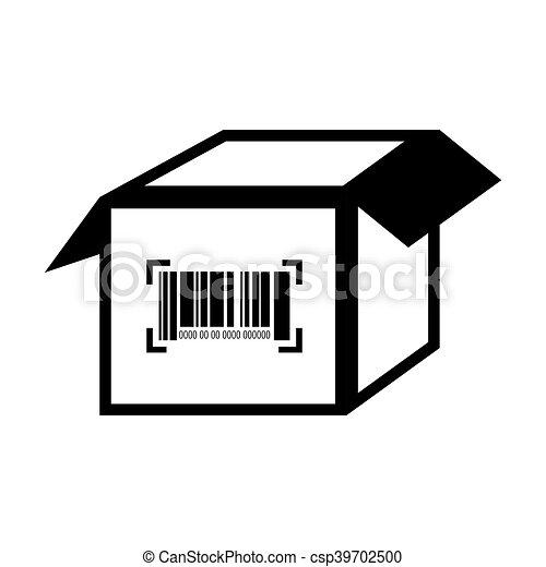 Doboz, lépcső, barcode, szám. Doboz, értesülés, scanner,... vektor ...