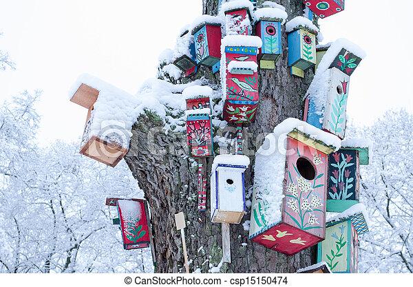 doboz, lakberendezési tárgyak, tél fa, hó, fészkelés, törzs, birdhouse - csp15150474