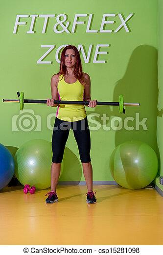 dobrado, malhação, ginásio, barbell, sobre, fila - csp15281098