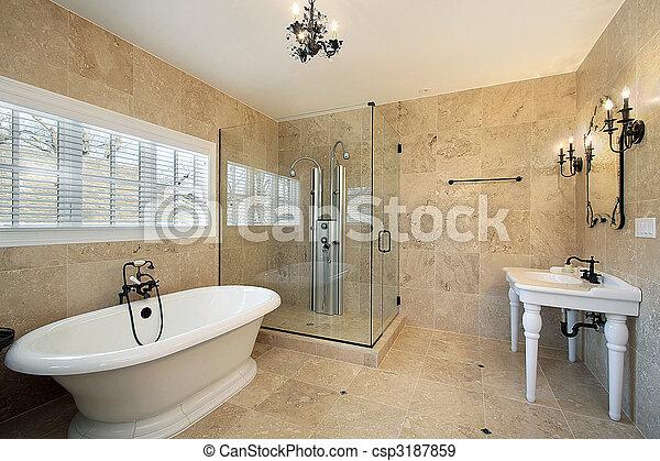 Doccia, grande, maestro, vetro, bagno. Grande, bagno,... fotografie ...