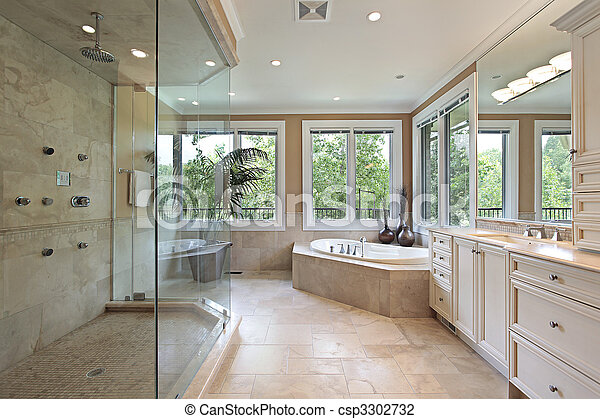 Doccia, grande, maestro, vetro, bagno. Grande, bagno,... foto d ...