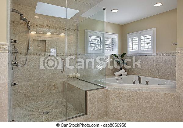 Doccia, vetro, maestro, bagno. Grande, moderno, bagno,... foto ...