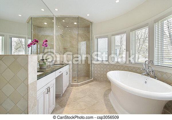 Doccia, vetro, maestro, lusso, bagno. Moderno, bagno,... fotografie ...