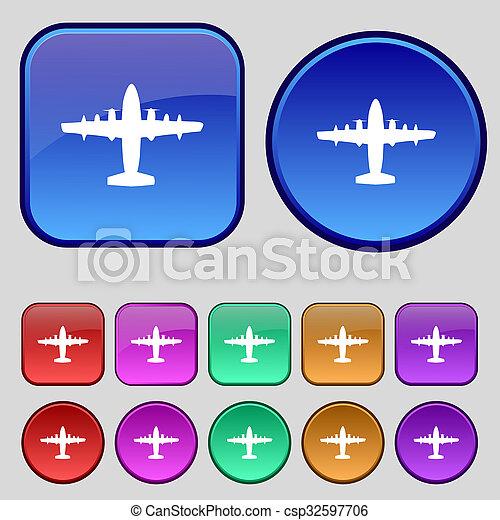 Señal de icono de avión. Un juego de doce botones antiguos para tu diseño. - csp32597706