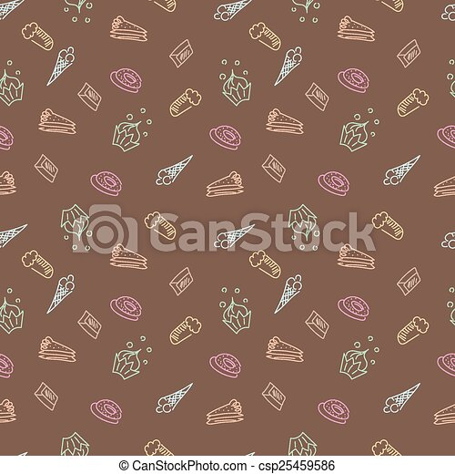 doce, esboço, padrão - csp25459586